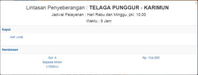 Jadwal Kapal Roro Telaga Punggur (Batam) ke Tg Balai Karimun
